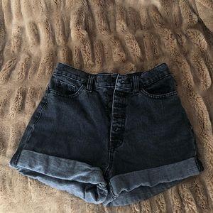 Black high-waisted mom jean shorts
